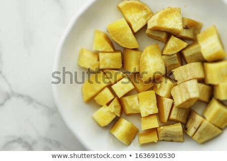 Gestoomd zoete aardappel groene Rood plaat vet Stockfoto © yuliang11