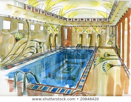 egyptische · zwembad · tempel · hemel · water · gebouw - stockfoto © andromeda