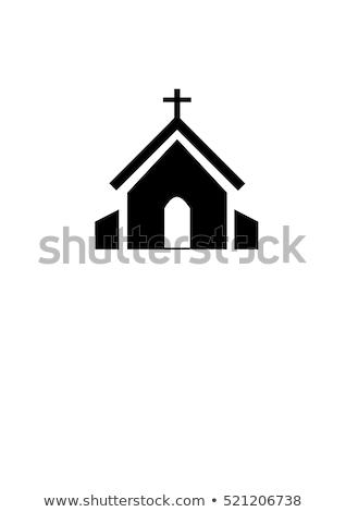 vektör · ikon · kilise · kar · pencere · kış - stok fotoğraf © zzve