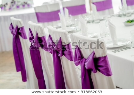szék · borító · esküvői · fogadás · orgona · szalag · íj - stock fotó © KMWPhotography