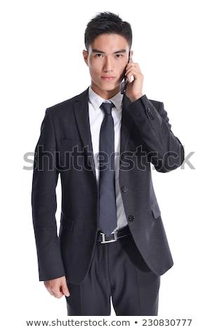 jonge · knap · zakenman · pak · praten · telefoon - stockfoto © lunamarina