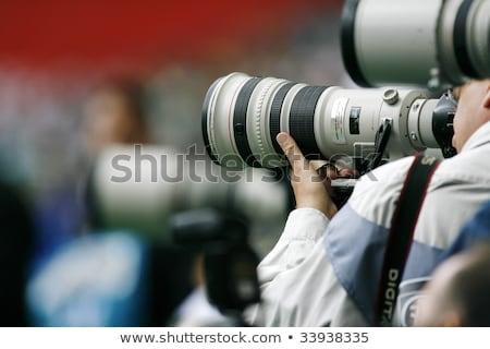 молодые прессы фотограф темно-серый мягкая фетровая шляпа Сток-фото © forgiss