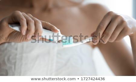 Diş fırçası diş macunu kırmızı banyo beyaz temizlemek Stok fotoğraf © javiercorrea15