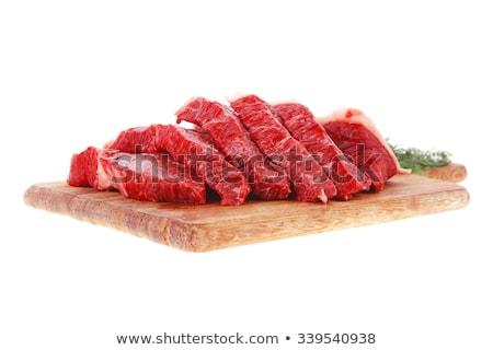 big chunk of raw beef on white background stock photo © haraldmuc