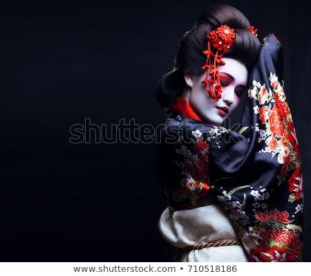 Portre geyşa geleneksel makyaj gülümseme güzellik Stok fotoğraf © dukibu