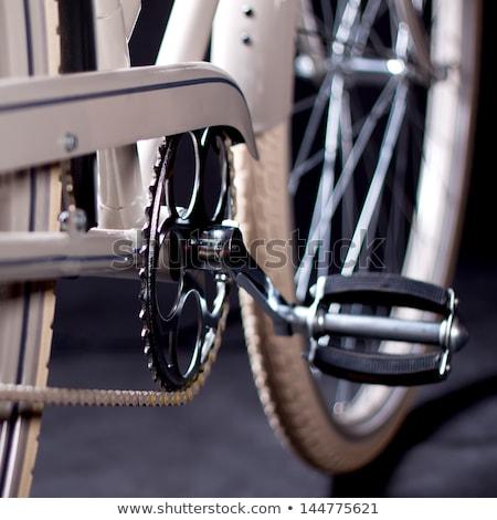 Starych retro rowerów szczegóły odizolowany czarny Zdjęcia stock © maros_b
