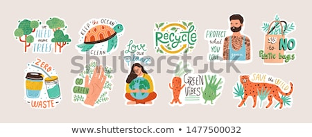 groene · aarde · stickers · vers · vlinder · borden - stockfoto © burakowski