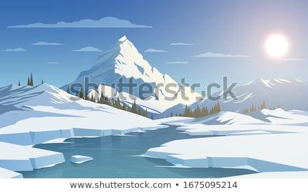 Beautiful sunset in snowy mountainous village Stock photo © Anna_Om
