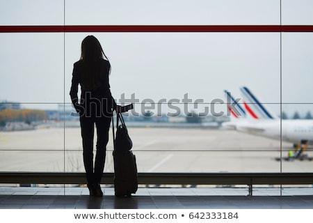 Kadın seyahat bavul beyaz gülümseme moda Stok fotoğraf © Elnur