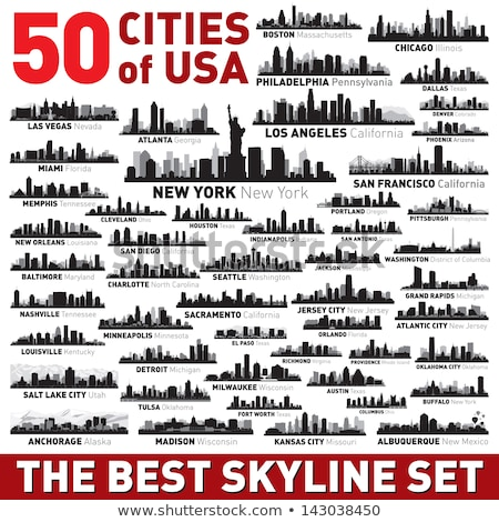 miami city skyline silhouette background stock photo © ray_of_light