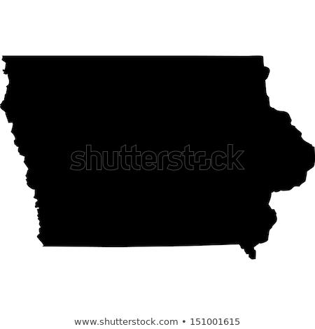 Сток-фото: карта · Айова · путешествия · черный · Америки · США