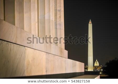 Outdoor Washington Monument Washington DC donkere wolken Stockfoto © meinzahn