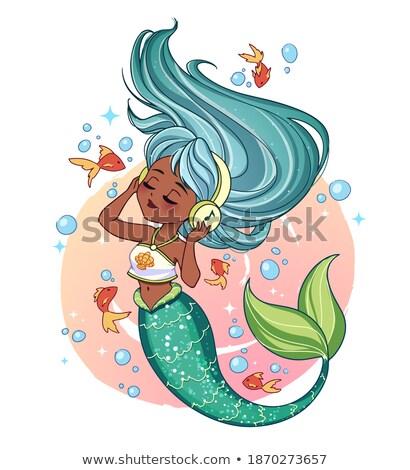 mooie · gouden · zeemeermin · schoonheid · zomer · goud - stockfoto © carodi