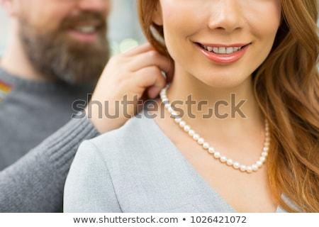 Luxus gyöngyök nyaklánc háttér fekete női Stock fotó © Nejron