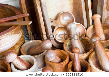 Wooden mortars and pestles for sale at a market stall, Mexico Ci Stock photo © bmonteny