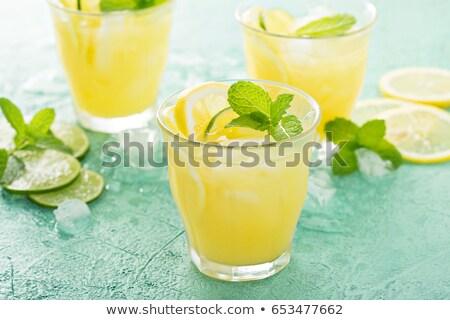 verre · orange · boire · menthe · feuille · argent - photo stock © cypher0x