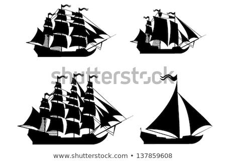 buques · siluetas · agua · océano · guerra · barco - foto stock © Slobelix
