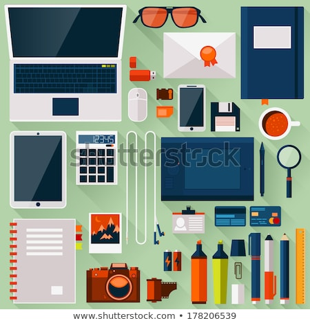 Flat office workplace environment, tools essentials Stock photo © mOleks