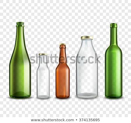 Cam şişe sarı sıvı boş etiket Stok fotoğraf © arvinproduction