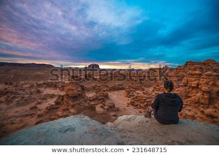 mushroon shaped hoodoos goblin valley state park rock canyon uta stock photo © billperry