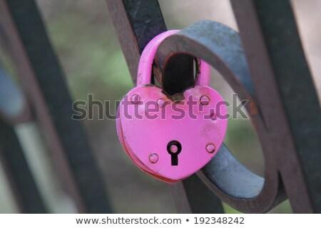 Pembe düğün kilitlemek aşıklar asılı çit Stok fotoğraf © Tatik22