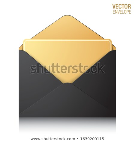 Stock photo: Blank Envelope Gold Lining Invitation Letter Opening Message