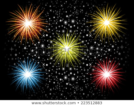 abstract detailed colorful cracker explode in sky Stock photo © pathakdesigner