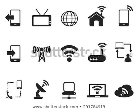 Stock fotó: Kommunikáció · fekete · vektor · gomb · ikon · terv