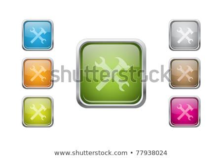 construction tools green vector button icon design set stock photo © rizwanali3d