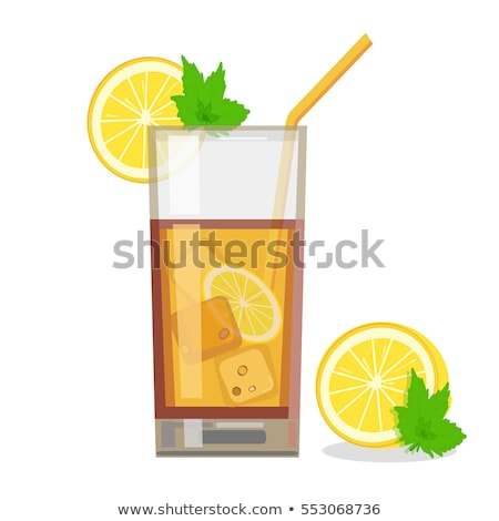glass cup tea with lemon and lime slices isolated on a white bac stock photo © tetkoren