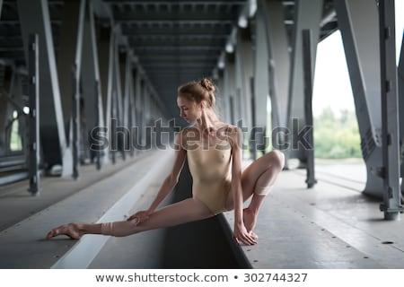 portret · bevallig · ballerina · industriële · witte · brug - stockfoto © bezikus