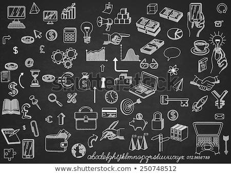 dollar symbol with arrows icon drawn in chalk stock photo © rastudio