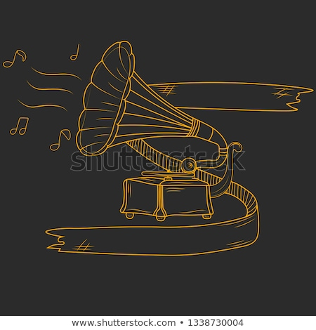 grammofoon · icon · krijt · Blackboard - stockfoto © rastudio