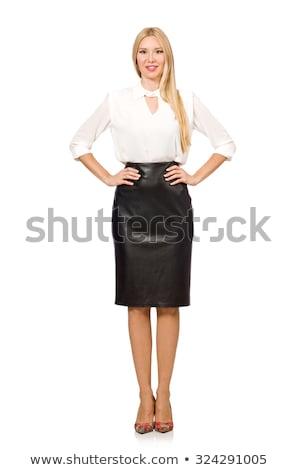 mooie · vrouw · leder · rok · geïsoleerd · witte · vrouw - stockfoto © elnur