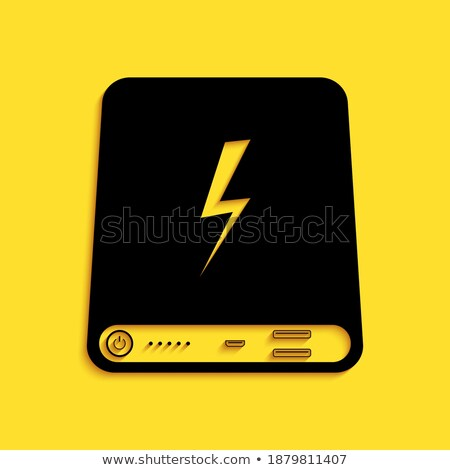 Usb знак желтый вектор икона кнопки дизайна Сток-фото © rizwanali3d