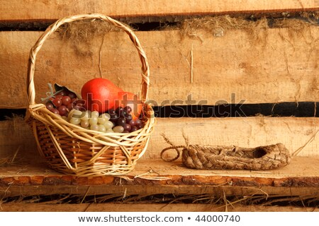 Rural still life. Basket of grapes and apples, and bast shoes on Stock photo © Paha_L