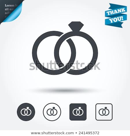 Foto stock: Vector · anillos · de · boda · iconos · grande · establecer · reflexión