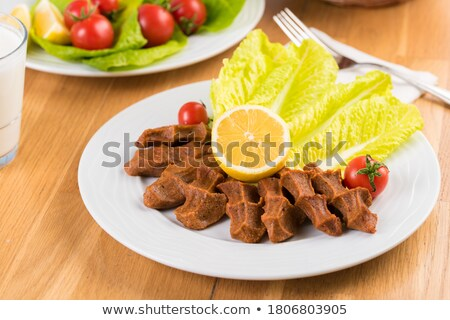 Nyers tányér fából készült vacsora piros hús Stock fotó © paulovilela