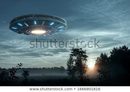 exóticas · ufo · ilustración · hombre · noche · silueta - foto stock © adrenalina