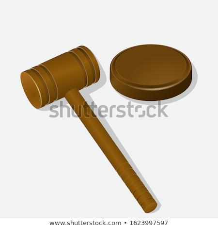 Сток-фото: молота · иллюстрация · белый · прав · правосудия