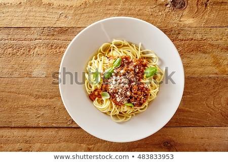 Top giù view piatto spaghetti pasta Foto d'archivio © ozgur