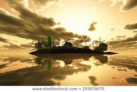 3d render nyugalmas sziget naplemente kicsi ház Stock fotó © kjpargeter