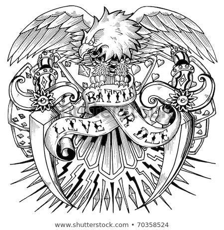 Foto stock: Águia · tatuagem · desenhos · preto · e · branco · ilustrações · vetor