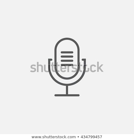 Foto stock: Retro · microfone · linha · ícone · teia