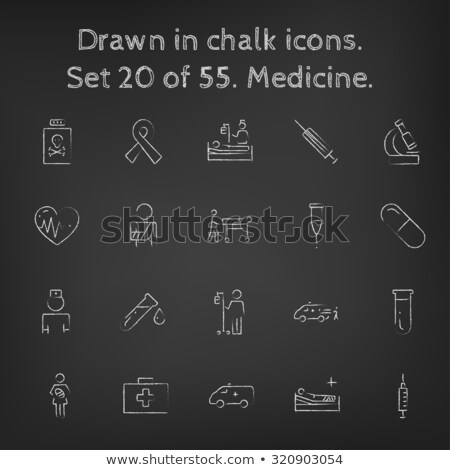 Stock photo: Man with patient and ambulance car. Drawn in chalk icon.