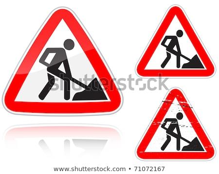 дороги · знак · строительство · красный · дорожный · знак - Сток-фото © boroda