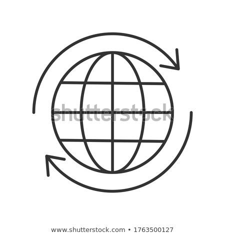 terra · seta · em · torno · de · linha · ícone · teia - foto stock © rastudio