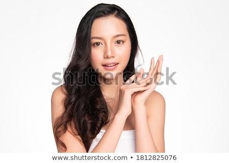 Asiático beleza posando branco sofá olhos Foto stock © dash