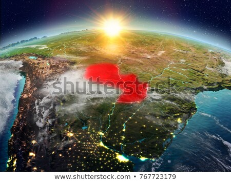Paragwaj przestrzeni Świt region orbita 3d ilustracji Zdjęcia stock © Harlekino