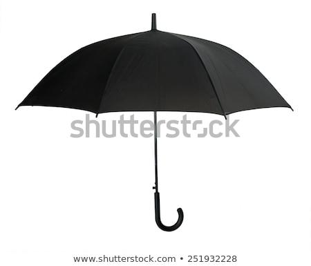 preto · guarda-chuva · topo · ver · abrir · isolado - foto stock © coprid